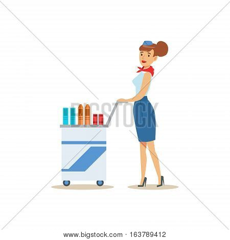 Flight Attendant With Food Cart, Part Of Airport And Air Travel Related Scenes Series Of Vector Illustrations. Smiling Cartoon Character Airport Professional Employee.