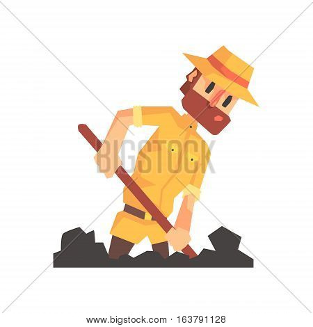 Adventurer Archeologist In Safari Outfit And Hat Digging The Ground Illustration From Funny Archeology Scientist Series. Cartoon Male Indiana Jones Style Tombraider Character Vector Drawing.