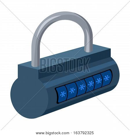 Computer password icon in cartoon design isolated on white background. Hackers and hacking symbol stock vector illustration.