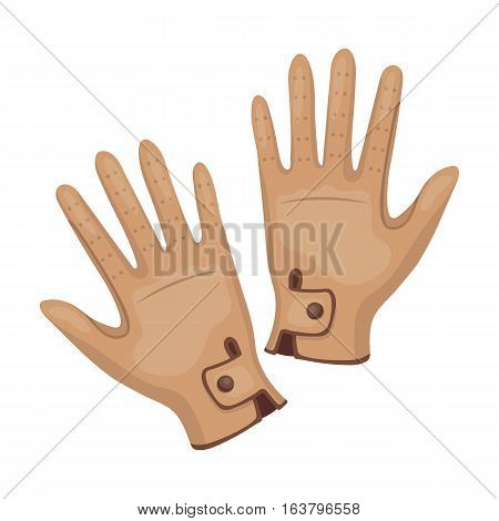 Jockey's gloves icon in cartoon design isolated on white background. Hippodrome and horse symbol stock vector illustration.