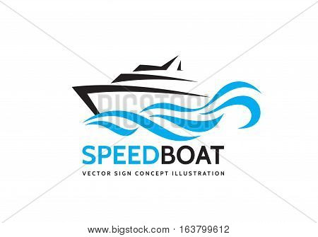 Abstract speed boat and blue sea waves - vector business logo template concept illustration. Ocean ship graphic creative sign. Marine float transport symbol. Nautical icon. Design element.