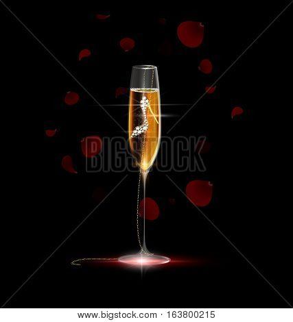 black background, the large glass of champagne with chain and pendant golden jewel shoe inside, red falling petals