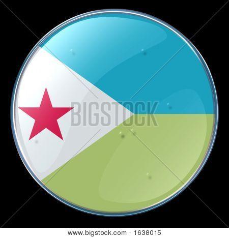 Djibouti Flag Button.