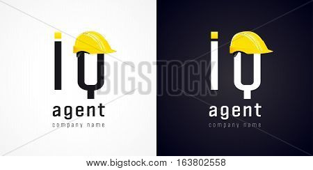 Sign of high-tech development company. IQ agent vector logo. Repair of computers and software service business icon. Sys admin of webpage symbol with building hat element. Construction helmet.