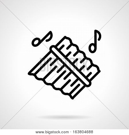 Abstract symbol of pan flute or panpipes with two notes. Ethnic and tribal tunes, woodwind melodies concept. Type of bamboo and reed music pipes. Black simple line vector icon.