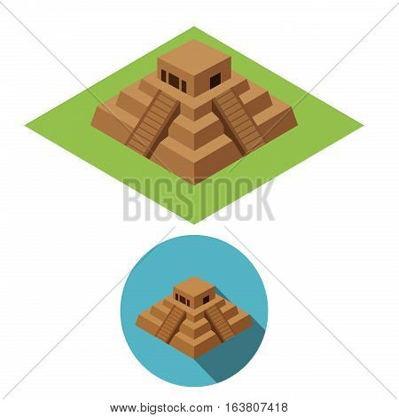 Chichen Itza icons in isometric style vector design
