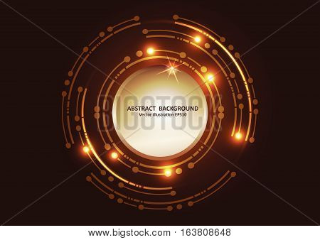 Abtract Futuristic Tecnology Background. Lighting And Sparkle On Dark Gold Background.