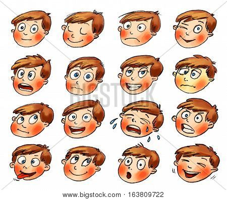 Emotions. Cartoon facial expressions set. ( natural calm resentful playful frightened sad satisfied ailing thoughtful jolly crying angry funny enamored astonished laughing ) Hand-drawn