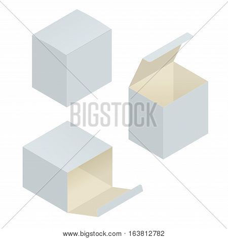 Open box. White blank cardboard package box in different positions. Vector template