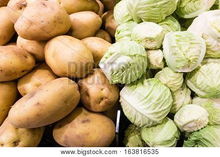 Raw Potato And Cabbage In Supermarket
