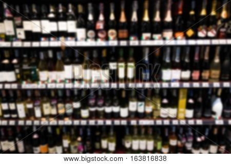 Supermarket Blur Background With Miscellaneous Product Shelf