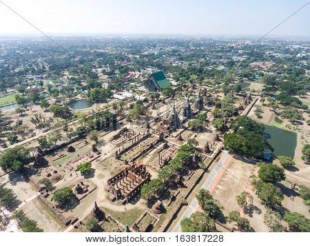 Aerial shot of thailand Ayutthaya historical park useful for travel concepts