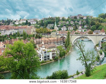 Bern Switzerland view with the Aare river in the foreground