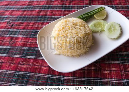 Authentic Thai Fried Rice Taken Outdoor With Natural Light