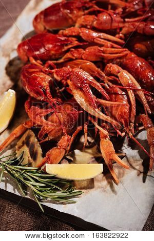 Perfect taste. Crayfishes with rosemary and lemon lying on pita and wooden tray while being put on a table in a restaurant.