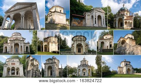 Collage Of Chapels At Sacro Monte Di Varese. Italy
