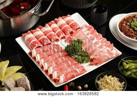 Raw beef for hot pot, traditioanl chinese food