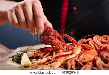Waiting for meal. Close up of mans hands holding a crayfish while spending time in restaurant and enjoying his meal.