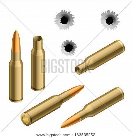 Isometric shot gun bullets and bullet holes isolated on white background. Ammunition, guns, military illustration