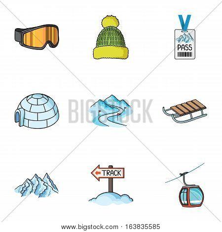 Ski resort set icons in cartoon style. Big collection of ski resort vector symbol stock