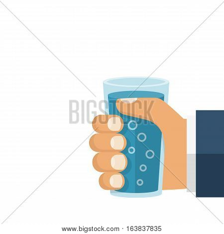 Hand holding a glass with water isolated on white background. Vector illustration flat style design. Drink water. Quench thirst. Cool mineral drink.