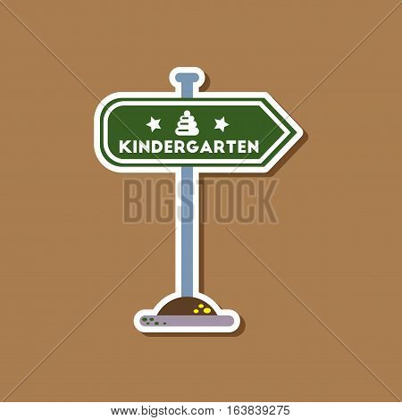 paper sticker on stylish background of sign kindergarten