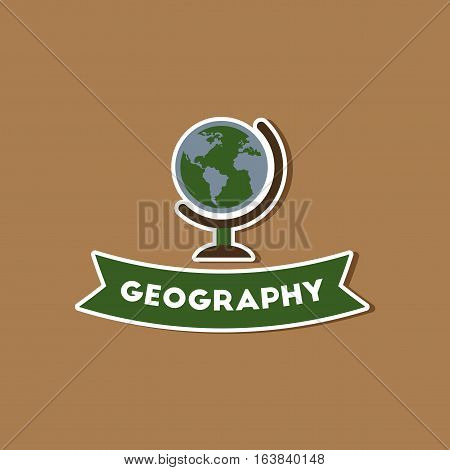 paper sticker on stylish background of geography lesson