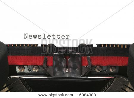 Newsletter on an old typewriter, genuine font.