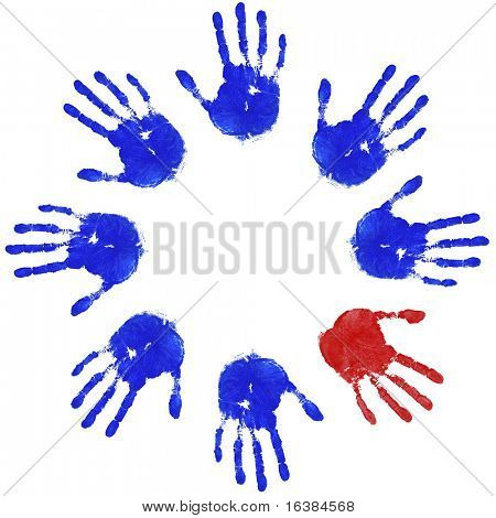 Images of blue handprints with an odd red one, concepts of Teamwork, Equality and Diversity.