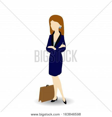 Cartoon image of a confident businesswoman, vector illustration.