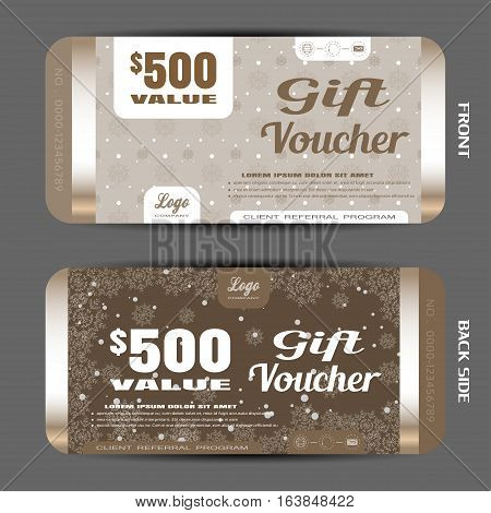 Vector new year gift voucher on the brown gradient background with snowflake pattern and snowfall.