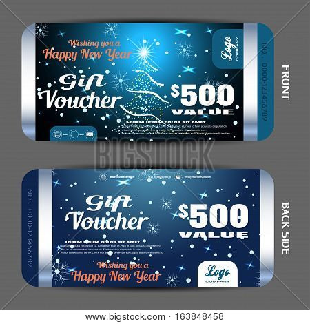 Vector new year gift voucher on the dark blue gradient background with Christmas tree snowfall and strips.