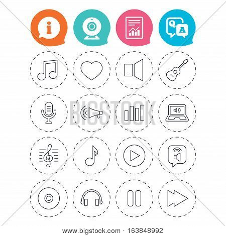 Music icons. Musical note, acoustic guitar and microphone. Notebook, dynamic and headphones symbols. Information, question and answer icons. Web camera, report signs. Vector