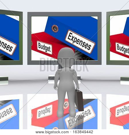 Budget Expenses Screen Mean Business Finances 3D Rendering