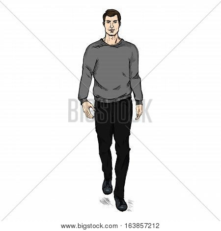 Vector Sketch Fashion Male Model In Trousers And Sweatshirt