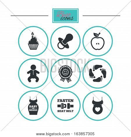 Pregnancy, maternity and baby care icons. Apple, award and pacifier signs. Footprint, birthday cake and newborn symbols. Round flat buttons with icons. Vector