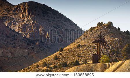 Old industrial gold mining hoist near Virginia City Nevada