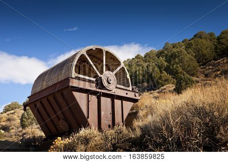 Old mining equipment in the desert near Como Nevada. This is called an Oliver Filter and was used to separate material.