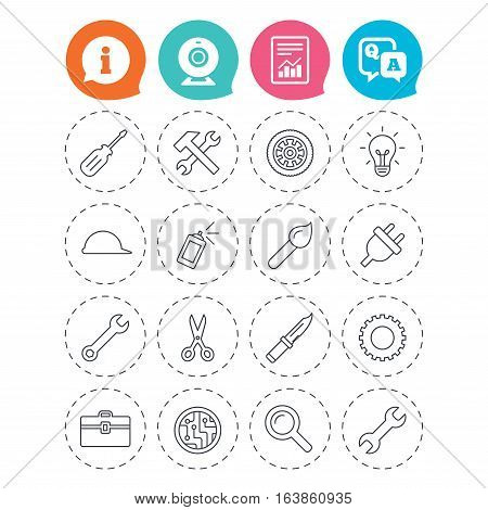 Repair tools icons. Hammer with wrench key, wheel and brush. Screwdriver, electric plug and scissors. Circuit board, magnifying glass and construction helmet. Information, question and answer icons