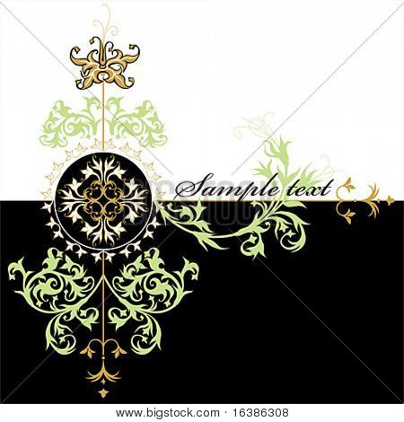 calligraphy vintage design - flowers ornament on black and white background