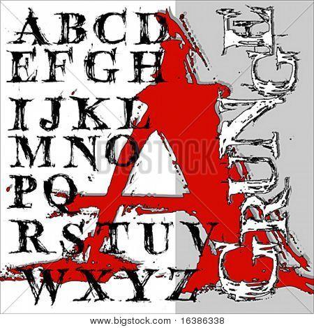 Alfabeto de grunge de sorteo de mano