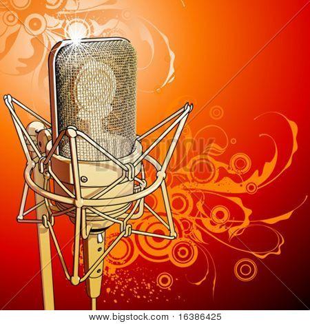 Micrófono profesional oro