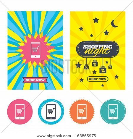 Sale banners, online shopping. Smartphone with shopping cart sign icon. Online buying symbol. Shopping night. Vector