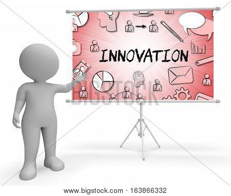 Innovation Icons Shows Reorganization Transformation 3D Rendering