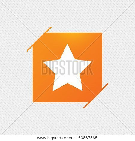 Star sign icon. Favorite button. Navigation symbol. Orange square label on pattern. Vector