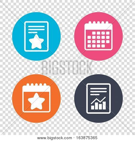 Report document, calendar icons. Star sign icon. Favorite button. Navigation symbol. Transparent background. Vector
