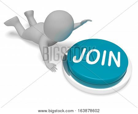 Join Button Means Online Membership 3D Rendering