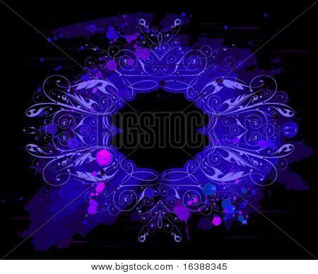 marco vintage de Grunge, fondo acuarela, adornos de flores