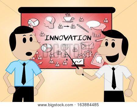 Innovation Icons Shows Reorganization Transformation 3D Illustration