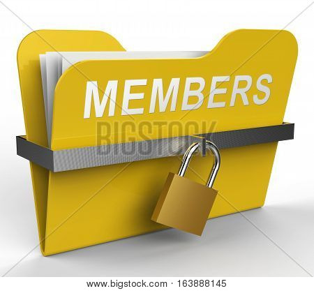 Members Folder Represents Join Up 3D Rendering